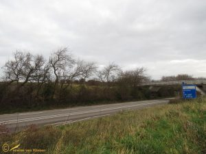 Weg met viaduct richting duinen