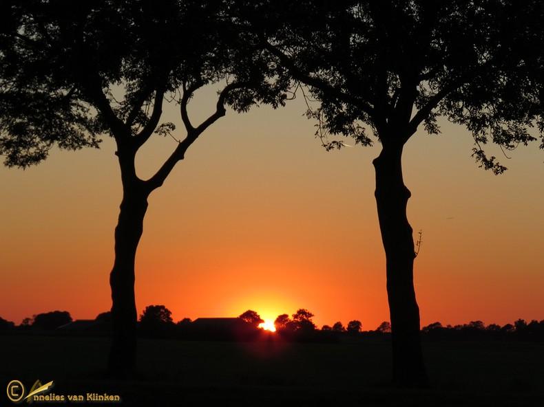 Zonsondergang in de buurt van Giethoorn